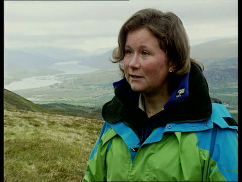 scotland ben nevis alison hargreaves lr through skilift foyer ext cms alison hargreaves intvw sot is looking forward to climbing k2 ms alison towards... - ski lift stock videos & royalty-free footage