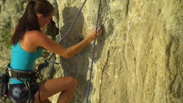 ha ms woman climbing rock face, looking for hand holds / krabi, thailand - rock face stock videos & royalty-free footage