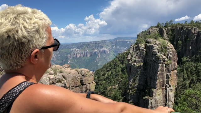 Woman contemplating the copper canyon