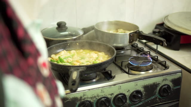 Woman cooking Cuban home kitchen