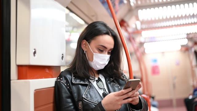 vídeos y material grabado en eventos de stock de woman covering her face with protective mask - cubrir