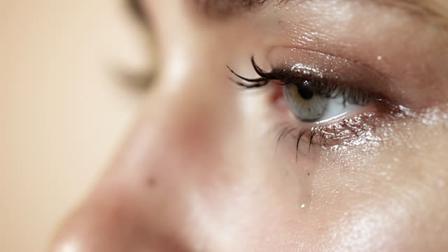 Woman crying closeup