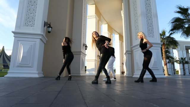 woman dance group making unic choreography - contestant stock videos & royalty-free footage