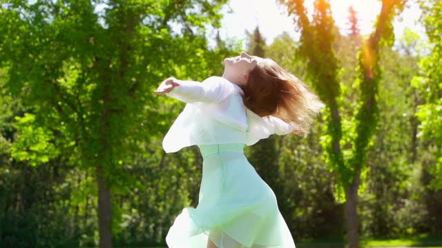 Woman dances in freedom