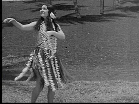 1934 b/w ws woman dancing hula dance / hawaii, usa - 1934 stock videos & royalty-free footage