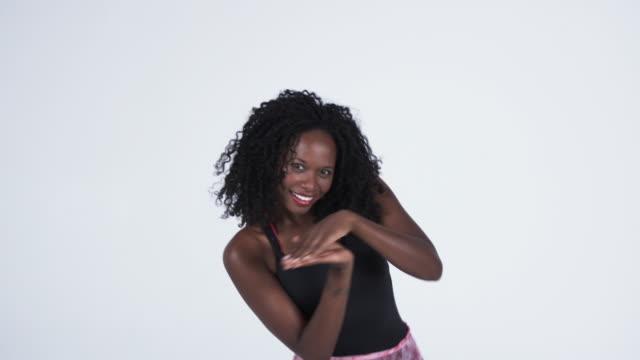 ms woman dancing in studio / orem, utah, usa    - orem video stock e b–roll