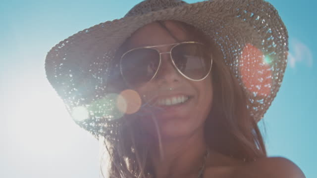 woman dancing in the sun - sunglasses stock videos & royalty-free footage