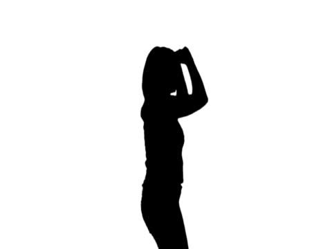 NTSC-Frau Tanzen silhouette weißen bg