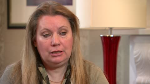 woman died in surgery after spelling error led to blood supply delays; england: int lorraine booker interview sot cutaway reporter - lorraine stock-videos und b-roll-filmmaterial