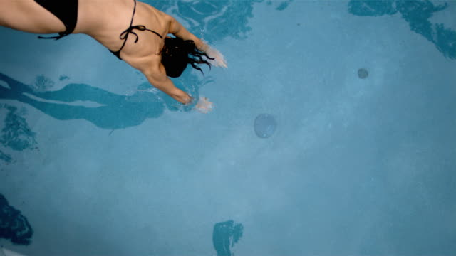 slo mo overhead ms woman diving into water/connecticut, usa - new london county connecticut stock videos & royalty-free footage