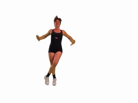woman doing aerobics - aerobic stock-videos und b-roll-filmmaterial