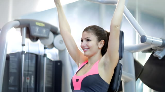 Woman doing exercises for arms