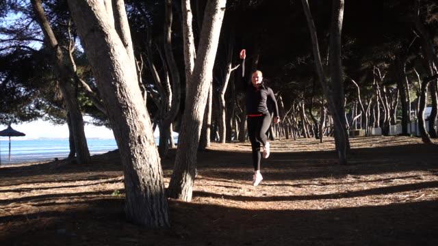 Woman doing sport at beach.