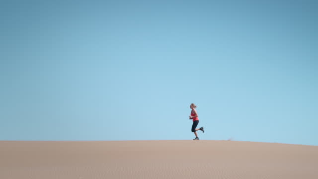 Woman doing sport desert