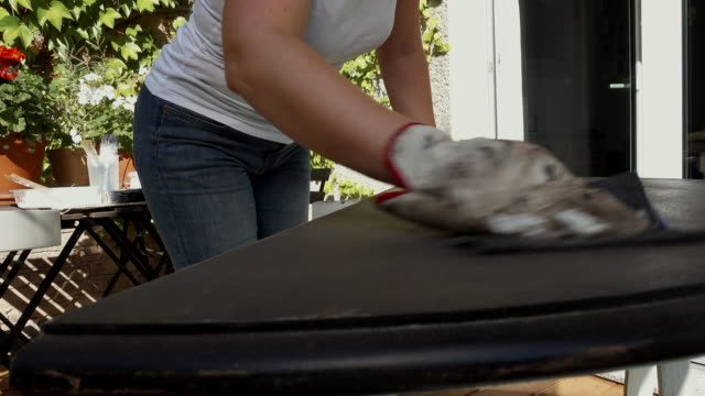 woman doing upcycling old table. - genderblend stock videos & royalty-free footage