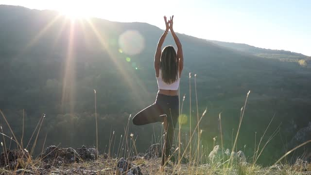 woman doing yoga in beautiful sunny nature - 40 44 years stock videos & royalty-free footage