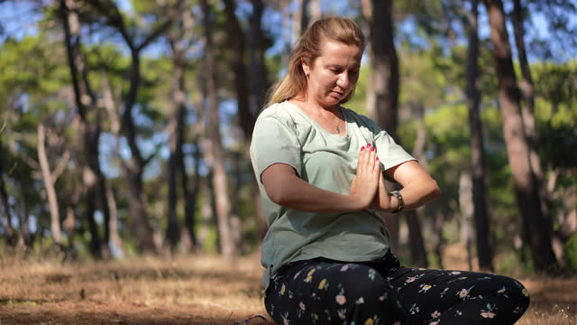 woman doing yoga in nature with her dog - human limb stock videos & royalty-free footage
