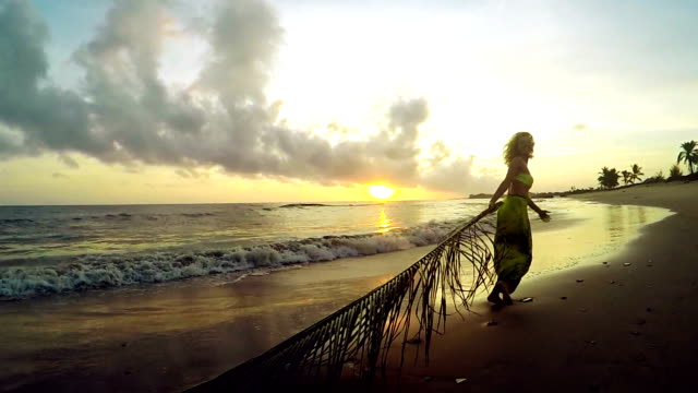 woman dragging palm leaf on the beach. holiday fun - sarong stock videos and b-roll footage