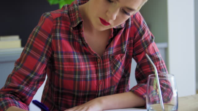 woman drawing - プレイドシャツ点の映像素材/bロール
