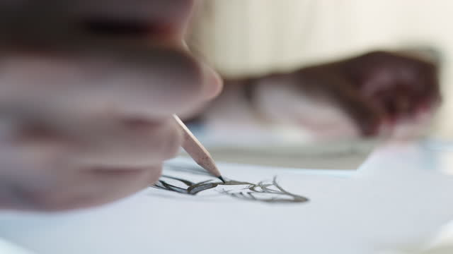 woman drawing with pencil sketching on paper - drawing art product stock videos & royalty-free footage