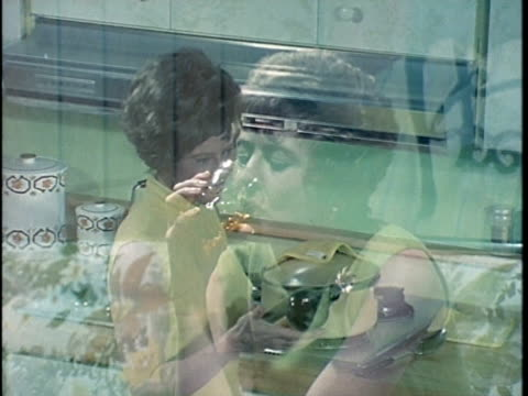 1971 montage woman drinking alcohol at home, los angeles, california, usa, audio   - alcohol abuse stock videos & royalty-free footage