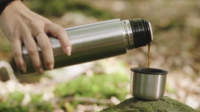 woman drinking coffee in the forest - utensil stock videos & royalty-free footage