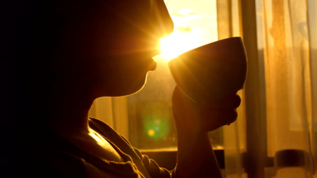 vídeos de stock e filmes b-roll de woman drinking coffee in the morning sunlight - manhã