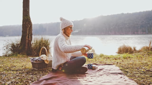 ms woman drinking hot coffee at tranquil autumn lakeside,prekmurje,slovenia - blanket stock videos & royalty-free footage