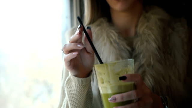 woman drinking smoothie - straw stock videos & royalty-free footage