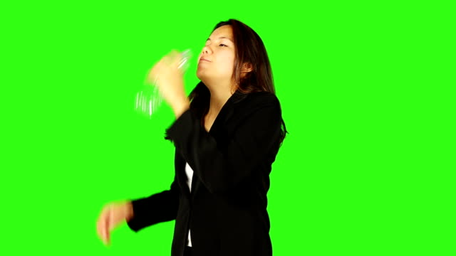woman drinking water and squeeze the bottle on green screen - keyable stock videos & royalty-free footage