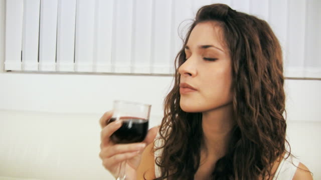 hd: woman drinking wine - blinds stock videos & royalty-free footage