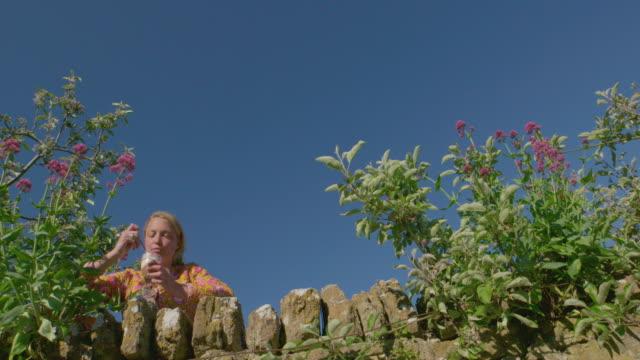 vidéos et rushes de woman eating dessert in garden - seulement des jeunes femmes