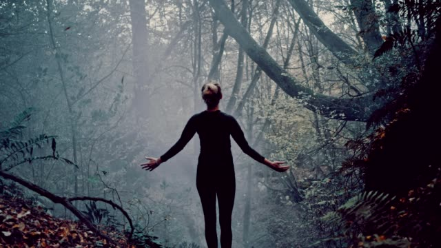 woman embracing nature. mysterious autumnal forest - arms outstretched stock videos and b-roll footage