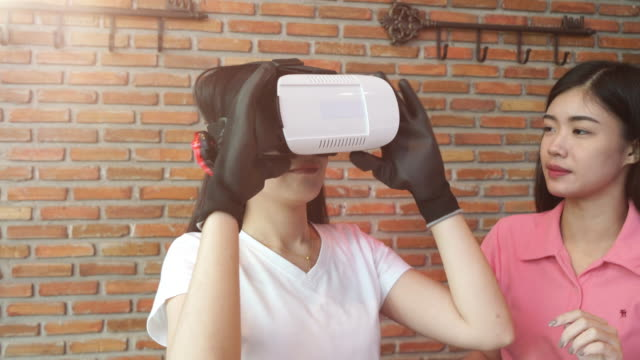 Woman engineer working on virtual reality development