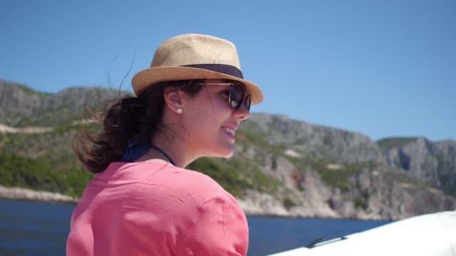 woman enjoying boat travel in hvar croatia - pardo brazilian stock videos & royalty-free footage