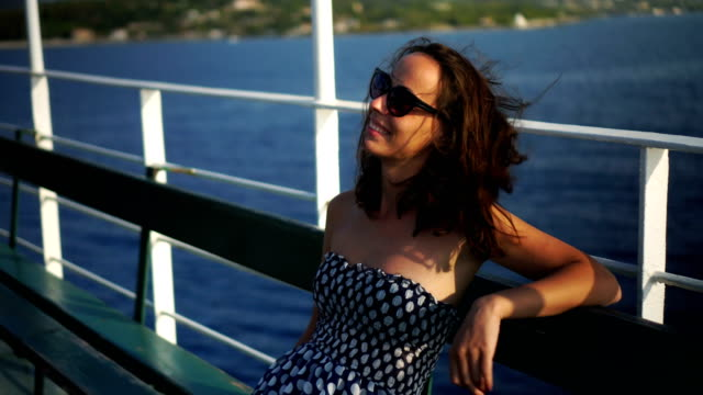 woman enjoying on the boat deck - ferry deck stock videos & royalty-free footage