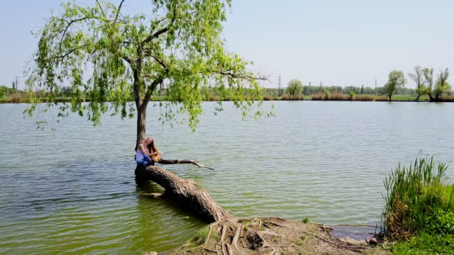 woman enjoying summer day sitting on willow in lake - leaning stock videos & royalty-free footage