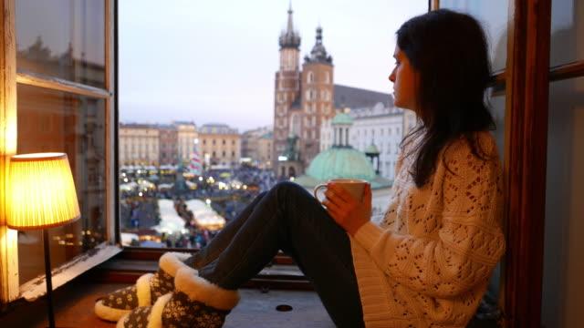 woman enjoying the christmas market - leg warmers stock videos & royalty-free footage