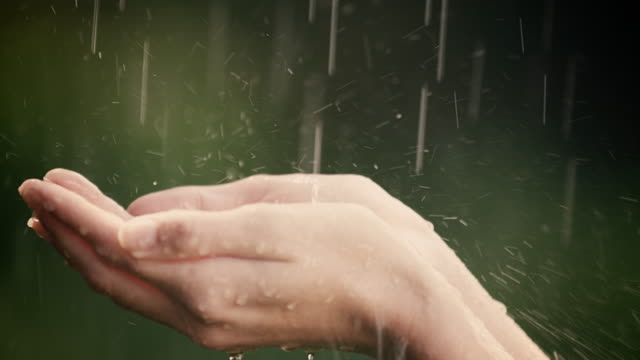 Woman enjoys and holds her hands in summer rain