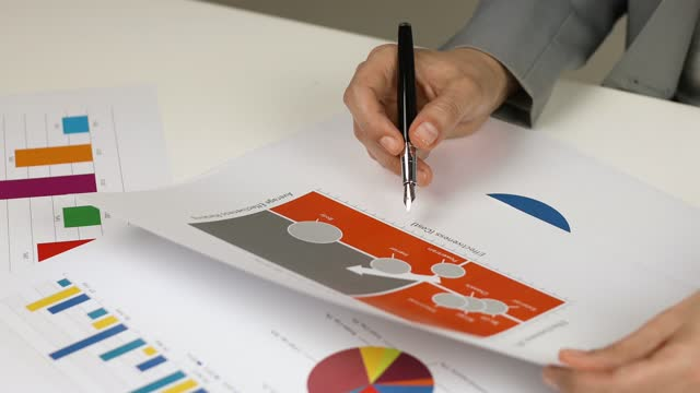 woman examining business graph with ball point pen in hand - scrutiny stock videos & royalty-free footage