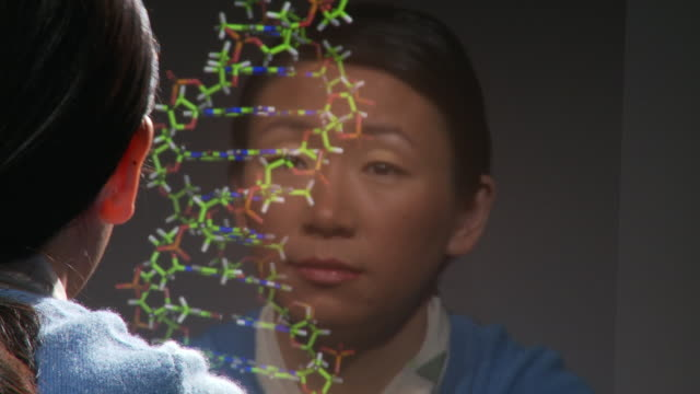cu r/f woman examining dna molecule rotating on computer screen / atlanta, georgia, usa - computeranlage stock-videos und b-roll-filmmaterial
