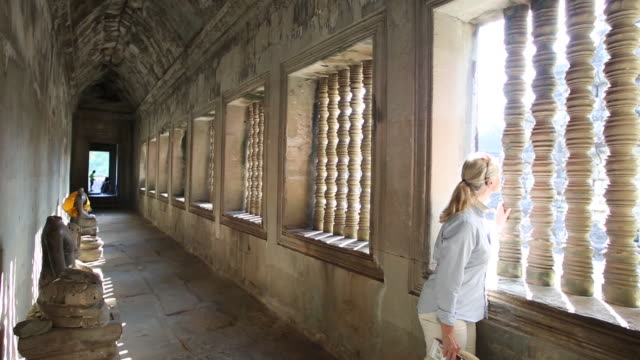 woman explores ancient ruins of angkor wat - pct stock videos and b-roll footage