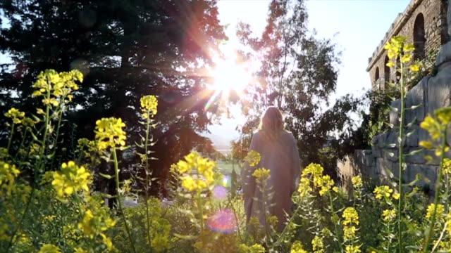woman explores ruins of ancient greek civilization - antike kultur stock-videos und b-roll-filmmaterial
