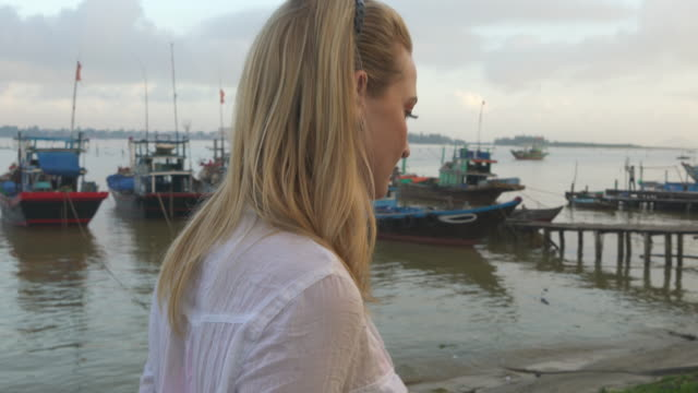 Woman exploring Vietnamese canal
