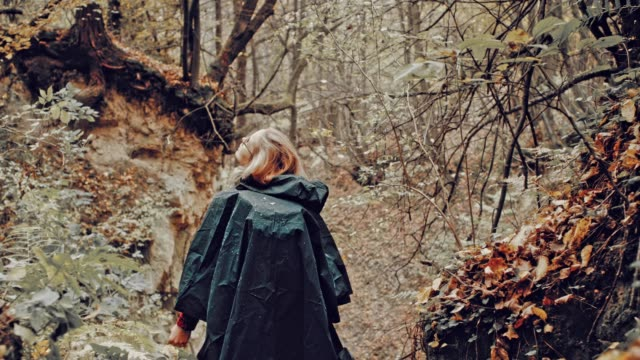 Woman exploring wilderness area in the rain