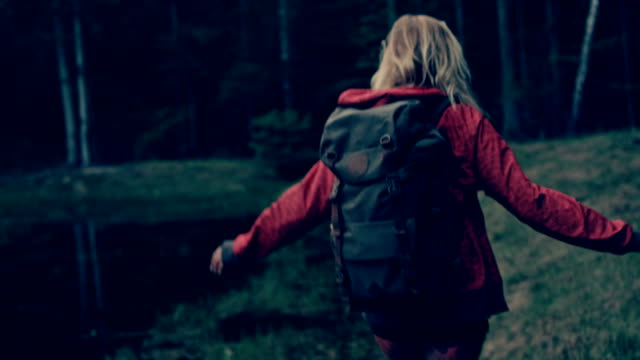 Woman exploring wilderness area