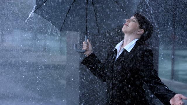 Woman Exposing To The Rain