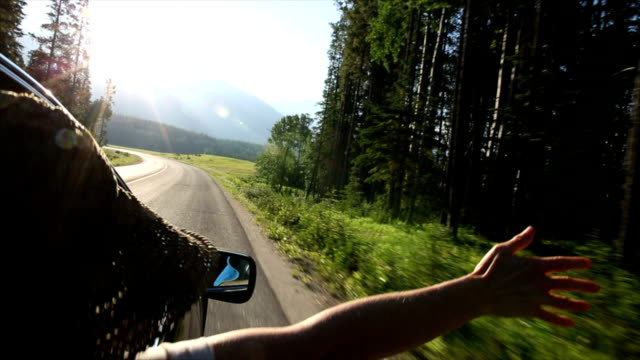 stockvideo's en b-roll-footage met woman extends arm out of car window in mountain meadow - autoreis