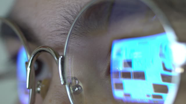 Woman eye looking computer