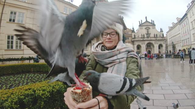 MS Woman feeding pigeons in town square,Prague,Czech Republic